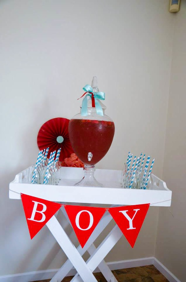Gender-neutral-aqua-red-baby-carriage-shower-via-Karas-Party-Ideas-karaspartyideas.com-gender-neutral-baby-shower-ideas-10