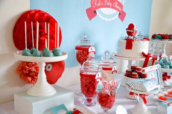 Gender-neutral-aqua-red-baby-carriage-shower-via-Karas-Party-Ideas-karaspartyideas.com-gender-neutral-baby-shower-ideas-8